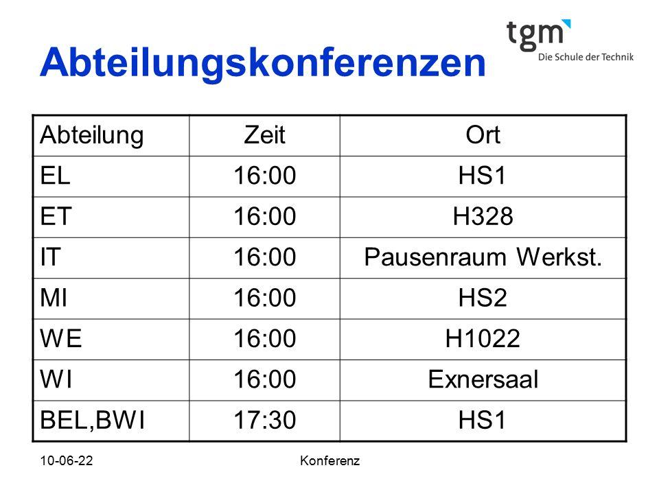 10-06-22Konferenz Abteilungskonferenzen AbteilungZeitOrt EL16:00HS1 ET16:00H328 IT16:00Pausenraum Werkst.