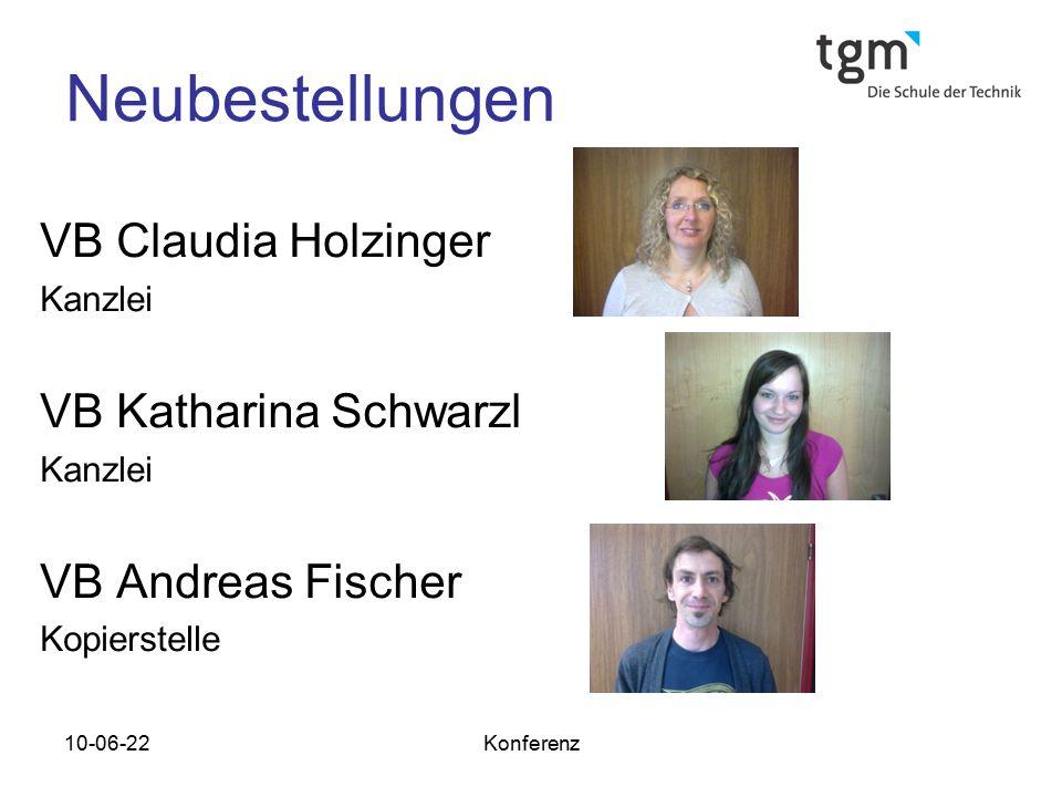 10-06-22Konferenz Neubestellungen VB Claudia Holzinger Kanzlei VB Katharina Schwarzl Kanzlei VB Andreas Fischer Kopierstelle