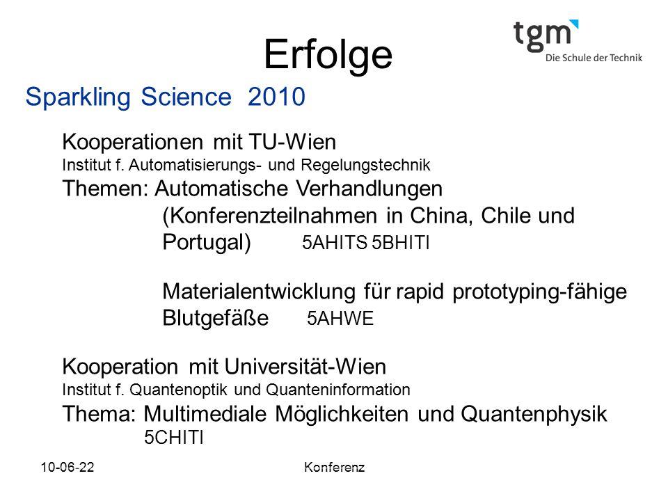 10-06-22Konferenz Erfolge Sparkling Science 2010 Kooperationen mit TU-Wien Institut f.