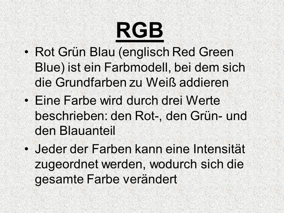 RGB Rot Grün Blau (englisch Red Green Blue) ist ein Farbmodell, bei dem sich die Grundfarben zu Weiß addieren Eine Farbe wird durch drei Werte beschrieben: den Rot-, den Grün- und den Blauanteil Jeder der Farben kann eine Intensität zugeordnet werden, wodurch sich die gesamte Farbe verändert
