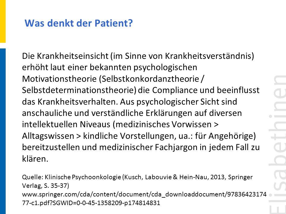 Die Krankheitseinsicht (im Sinne von Krankheitsverständnis) erhöht laut einer bekannten psychologischen Motivationstheorie (Selbstkonkordanztheorie /