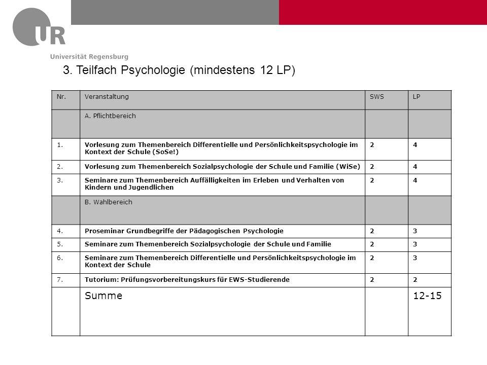 3. Teilfach Psychologie (mindestens 12 LP) Nr.VeranstaltungSWSLP A. Pflichtbereich 1.Vorlesung zum Themenbereich Differentielle und Persönlichkeitspsy