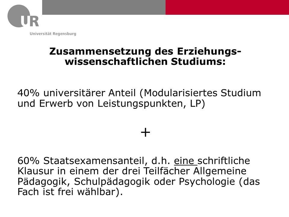 Zusammensetzung des Erziehungs- wissenschaftlichen Studiums: 40% universitärer Anteil (Modularisiertes Studium und Erwerb von Leistungspunkten, LP) +