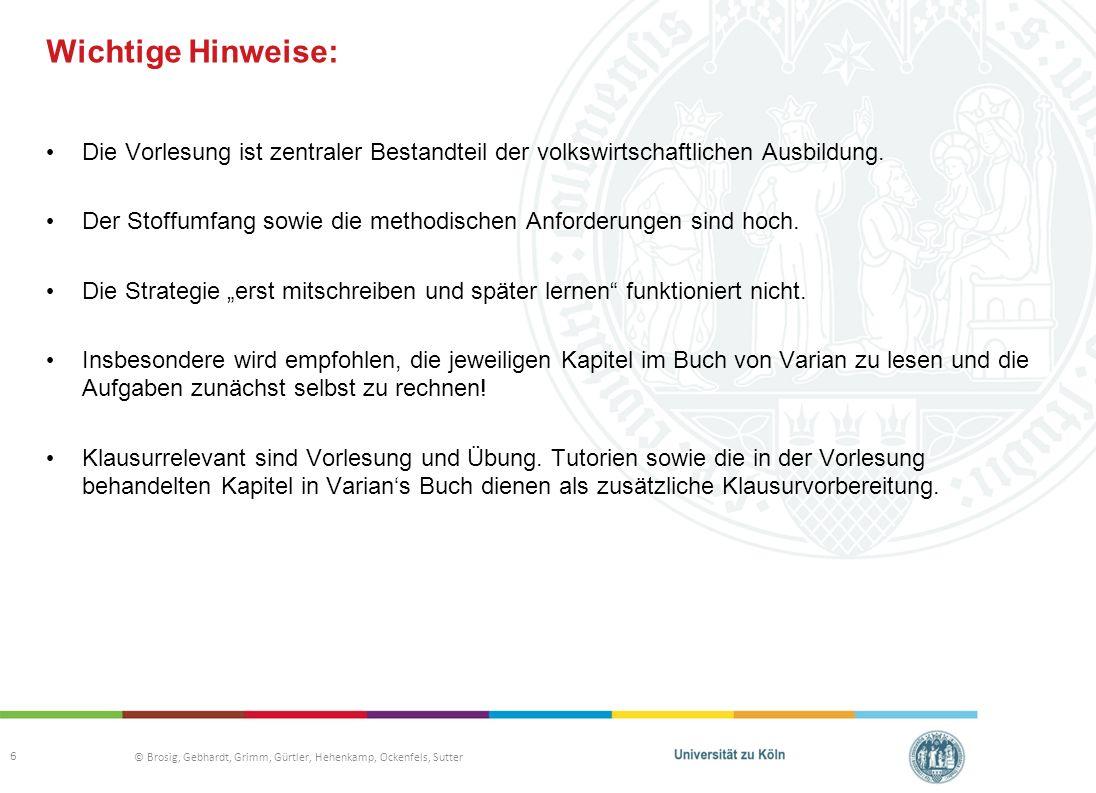 © Brosig, Gebhardt, Grimm, Gürtler, Hehenkamp, Ockenfels, Sutter Wichtige Hinweise: Die Vorlesung ist zentraler Bestandteil der volkswirtschaftlichen