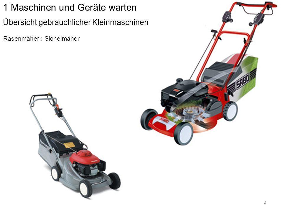 Rasenmäher : Sichelmäher 2 1 Maschinen und Geräte warten Übersicht gebräuchlicher Kleinmaschinen