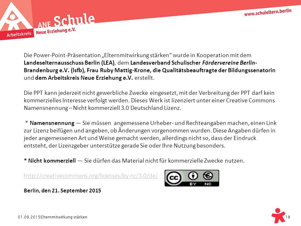 """01.09.2015 Die Power-Point-Präsentation """"Elternmitwirkung stärken"""" wurde in Kooperation mit dem Landeselternausschuss Berlin (LEA), dem Landesverband"""