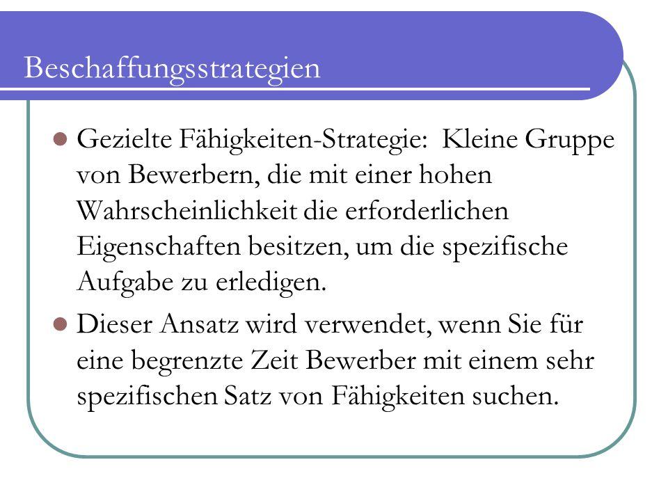 Beschaffungsstrategien Gezielte Fähigkeiten-Strategie: Kleine Gruppe von Bewerbern, die mit einer hohen Wahrscheinlichkeit die erforderlichen Eigenschaften besitzen, um die spezifische Aufgabe zu erledigen.