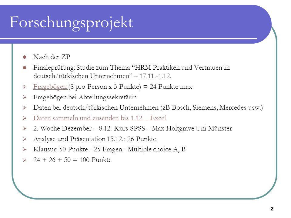 """Forschungsprojekt Nach der ZP Finaleprüfung: Studie zum Thema """"HRM Praktiken und Vertrauen in deutsch/türkischen Unternehmen"""" – 17.11.-1.12.  Fragebö"""