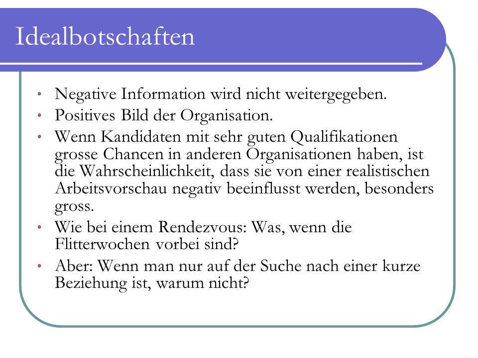 Idealbotschaften Negative Information wird nicht weitergegeben. Positives Bild der Organisation. Wenn Kandidaten mit sehr guten Qualifikationen grosse