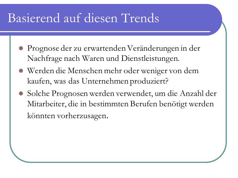 Basierend auf diesen Trends Prognose der zu erwartenden Veränderungen in der Nachfrage nach Waren und Dienstleistungen. Werden die Menschen mehr oder