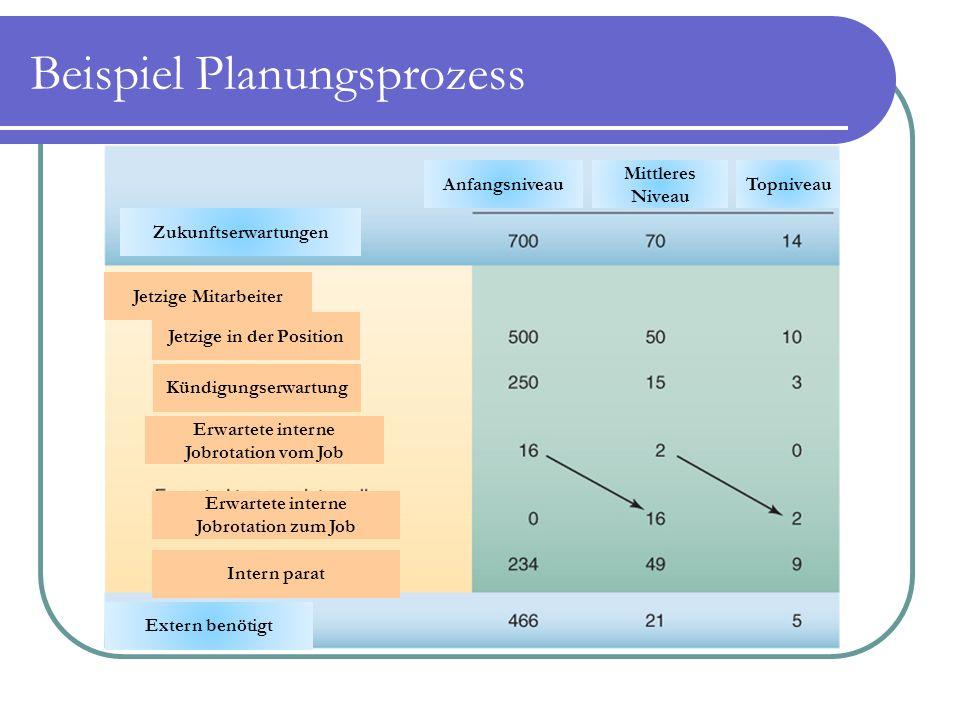 Beispiel Planungsprozess Zukunftserwartungen Anfangsniveau Mittleres Niveau Topniveau Jetzige Mitarbeiter Jetzige in der Position Kündigungserwartung
