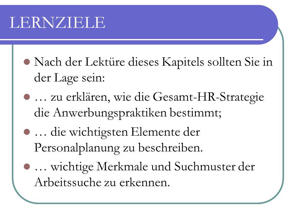 LERNZIELE Nach der Lektüre dieses Kapitels sollten Sie in der Lage sein: … zu erklären, wie die Gesamt-HR-Strategie die Anwerbungspraktiken bestimmt; … die wichtigsten Elemente der Personalplanung zu beschreiben.