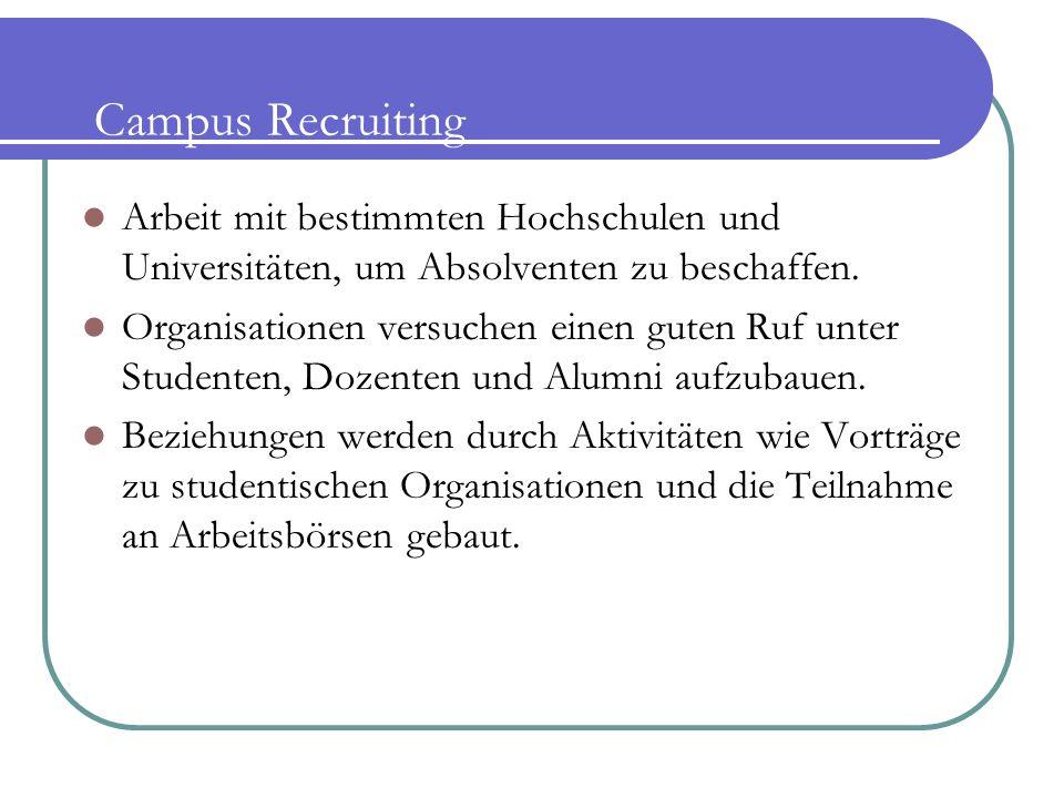 Campus Recruiting Arbeit mit bestimmten Hochschulen und Universitäten, um Absolventen zu beschaffen. Organisationen versuchen einen guten Ruf unter St