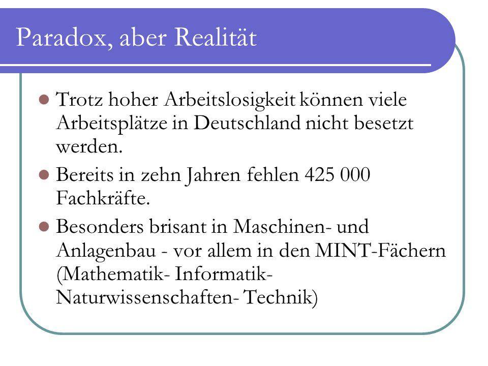 Paradox, aber Realität Trotz hoher Arbeitslosigkeit können viele Arbeitsplätze in Deutschland nicht besetzt werden. Bereits in zehn Jahren fehlen 425