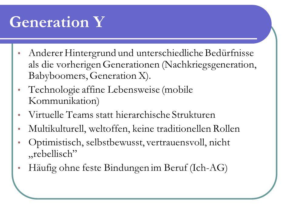 Generation Y Anderer Hintergrund und unterschiedliche Bedürfnisse als die vorherigen Generationen (Nachkriegsgeneration, Babyboomers, Generation X).