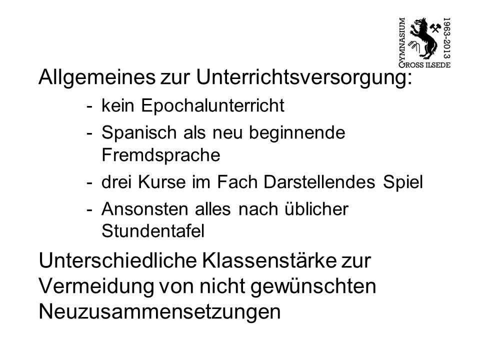 Allgemeines zur Unterrichtsversorgung: -kein Epochalunterricht -Spanisch als neu beginnende Fremdsprache -drei Kurse im Fach Darstellendes Spiel -Anso