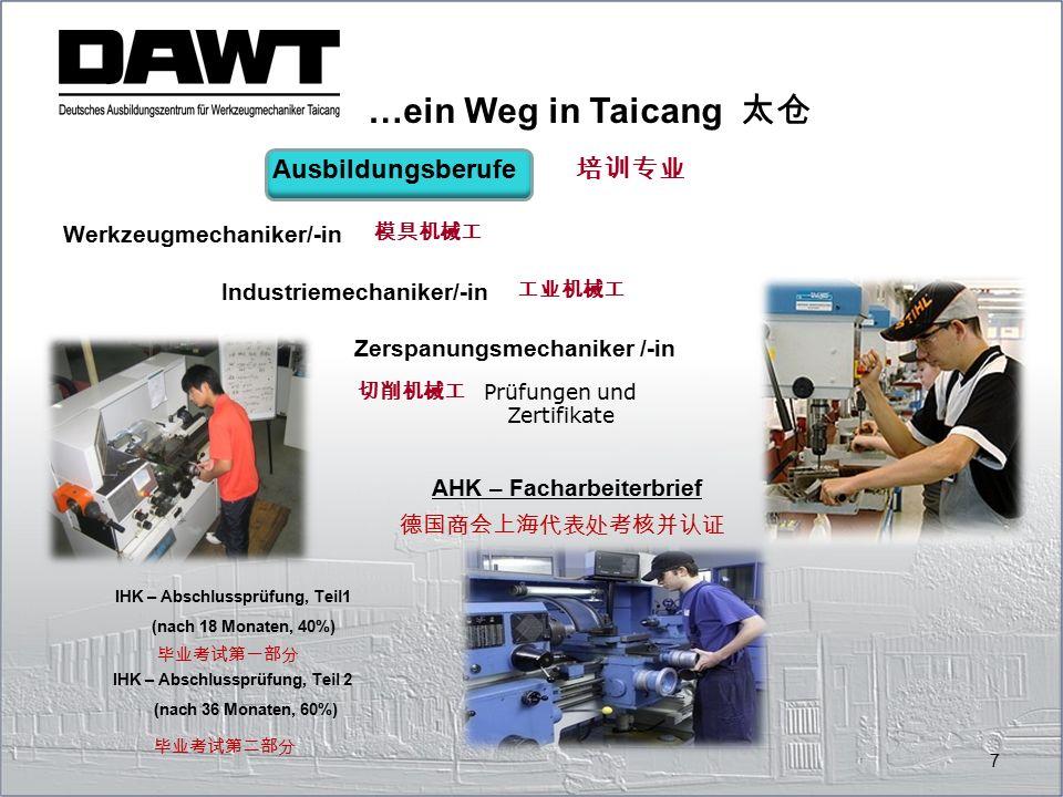 7 Ausbildungsberufe Werkzeugmechaniker/-in Industriemechaniker/-in Zerspanungsmechaniker /-in Prüfungen und Zertifikate IHK – Abschlussprüfung, Teil1