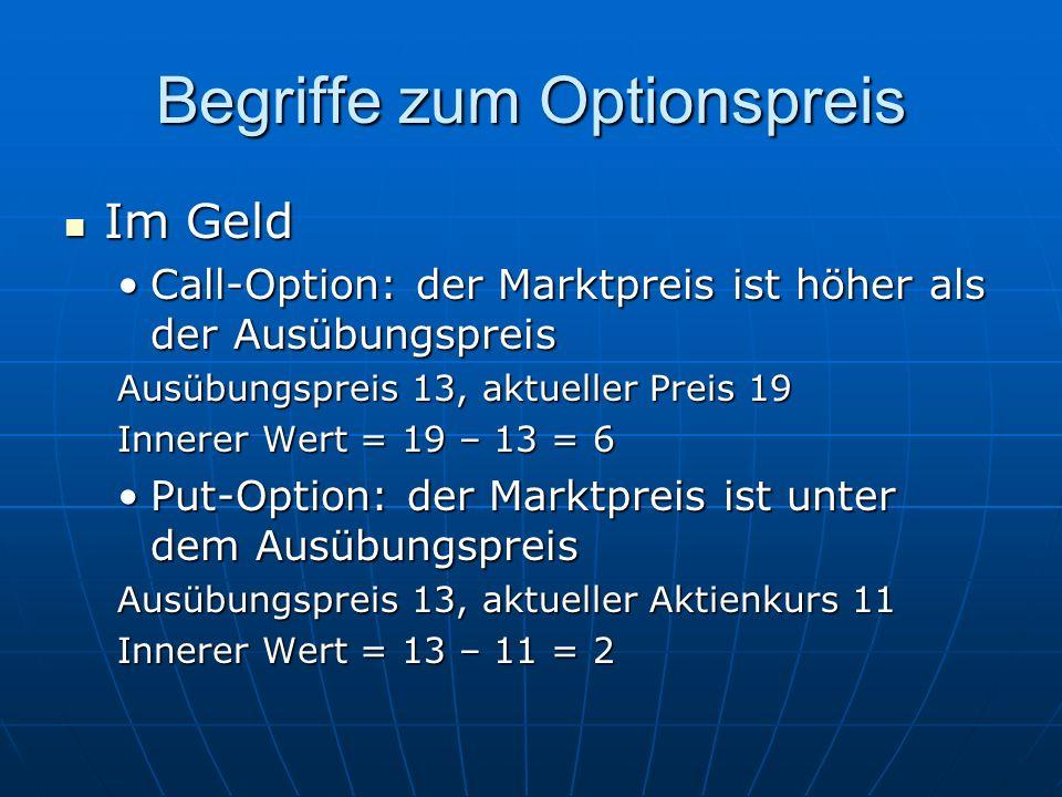 Begriffe zum Optionspreis Im Geld Im Geld Call-Option: der Marktpreis ist höher als der AusübungspreisCall-Option: der Marktpreis ist höher als der Au