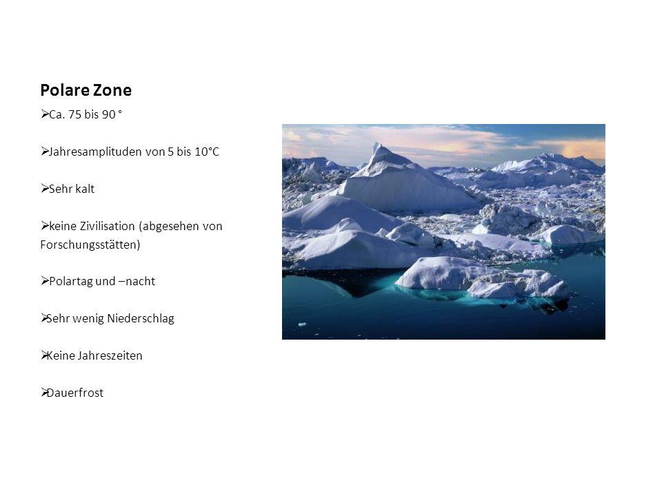 Polare Zone  Ca. 75 bis 90 °  Jahresamplituden von 5 bis 10°C  Sehr kalt  keine Zivilisation (abgesehen von Forschungsstätten)  Polartag und –nac