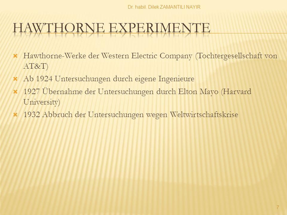  Hawthorne-Werke der Western Electric Company (Tochtergesellschaft von AT&T)  Ab 1924 Untersuchungen durch eigene Ingenieure  1927 Übernahme der Untersuchungen durch Elton Mayo (Harvard University)  1932 Abbruch der Untersuchungen wegen Weltwirtschaftskrise Dr.
