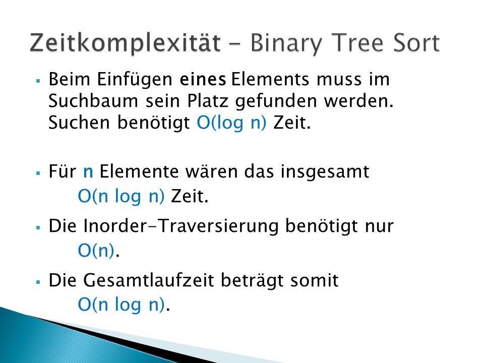  Beim Einfügen eines Elements muss im Suchbaum sein Platz gefunden werden. Suchen benötigt O(log n) Zeit.  Für n Elemente wären das insgesamt O(n lo