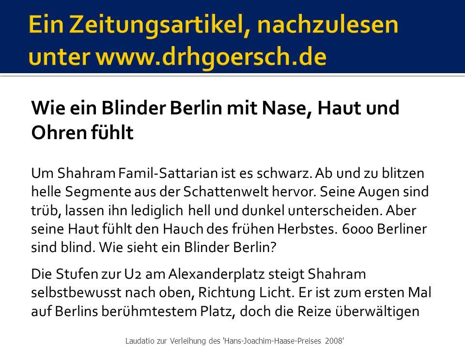 Wie ein Blinder Berlin mit Nase, Haut und Ohren fühlt Um Shahram Famil-Sattarian ist es schwarz.