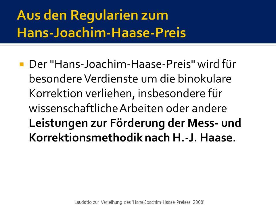  Der IVBV-Jahreskongress 2008 ist ein Jubiläumskongress  Wir blicken zurück auf 50 Jahre MKH und 20 Jahre IVBV  In diesem Rückblick taucht neben Hans-Joachim Haase ein Mann auf, der sich in ganz außerordentlicher Weise verdient gemacht hat um die MKH, sowohl durch wissenschaftliche Leistungen als auch in vielfältiger anderer Hinsicht.