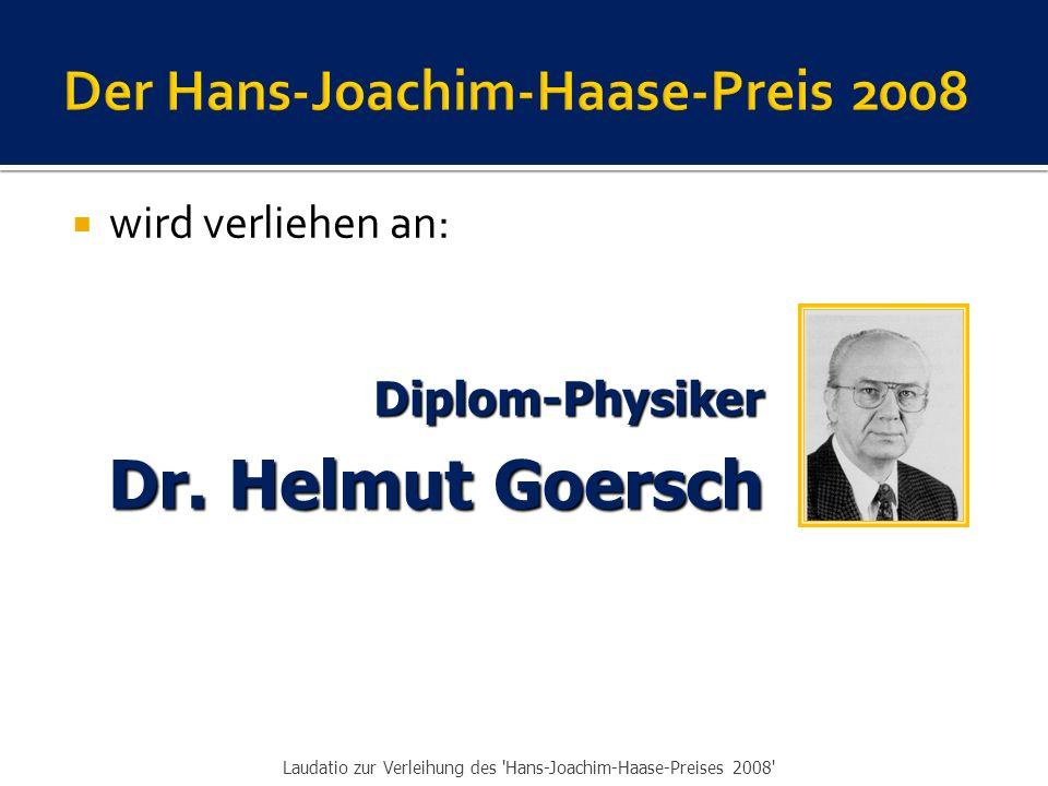  Die IVBV …  zollt Ihnen Respekt für die Entscheidung zur uneigennützigen Verwendung des Preisgeldes,  bedankt sich für all das Gute, das Sie für die Sache der MKH und für die IVBV geleistet haben  und beglückwünscht Sie zur Verleihung des Hans-Joachim- Haase-Preises 2008.