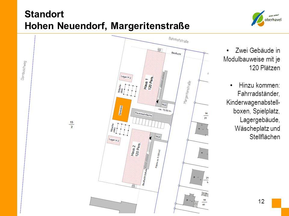 Standort Hohen Neuendorf, Margeritenstraße Landkreis Oberhavel - Dezernat III Gesundheit und Soziales 12 Zwei Gebäude in Modulbauweise mit je 120 Plät