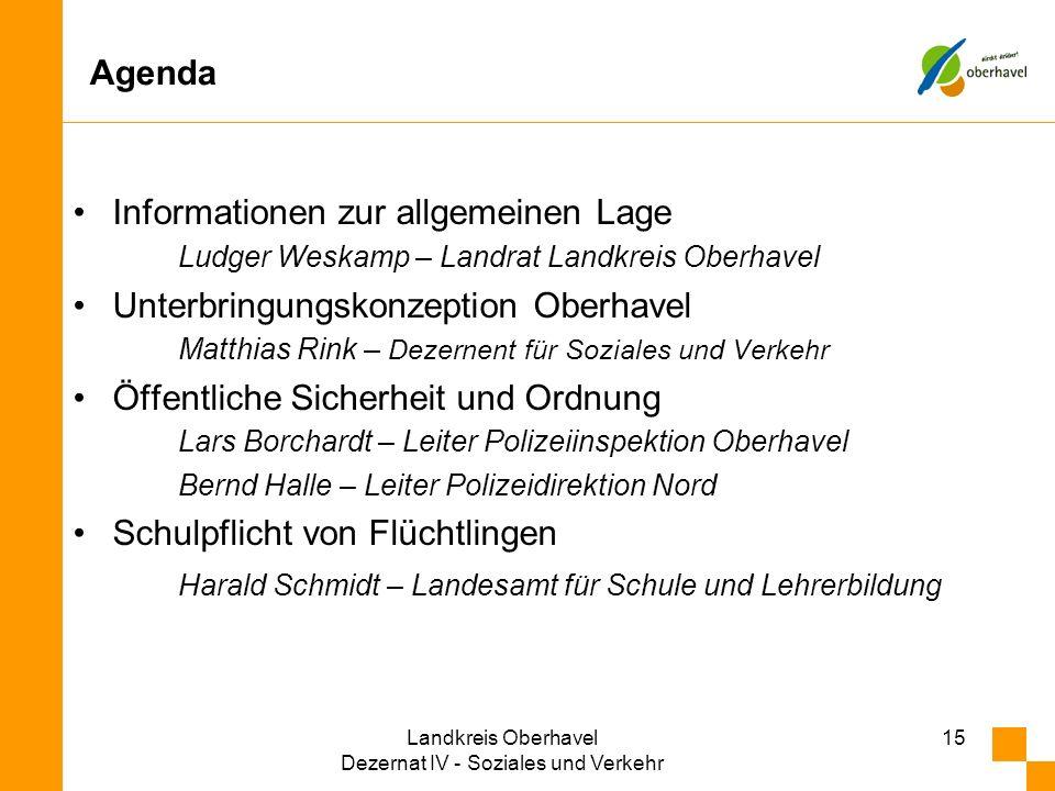 Agenda Informationen zur allgemeinen Lage Ludger Weskamp – Landrat Landkreis Oberhavel Unterbringungskonzeption Oberhavel Matthias Rink – Dezernent fü