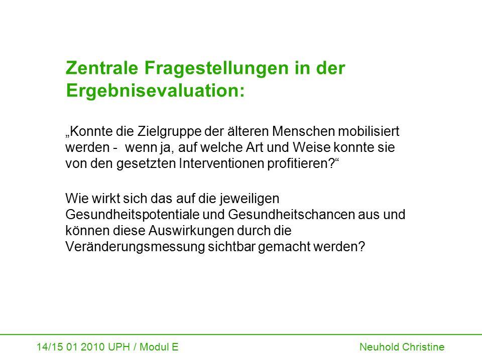 """14/15 01 2010 UPH / Modul E Neuhold Christine Zentrale Fragestellungen in der Ergebnisevaluation: """"Konnte die Zielgruppe der älteren Menschen mobilisi"""