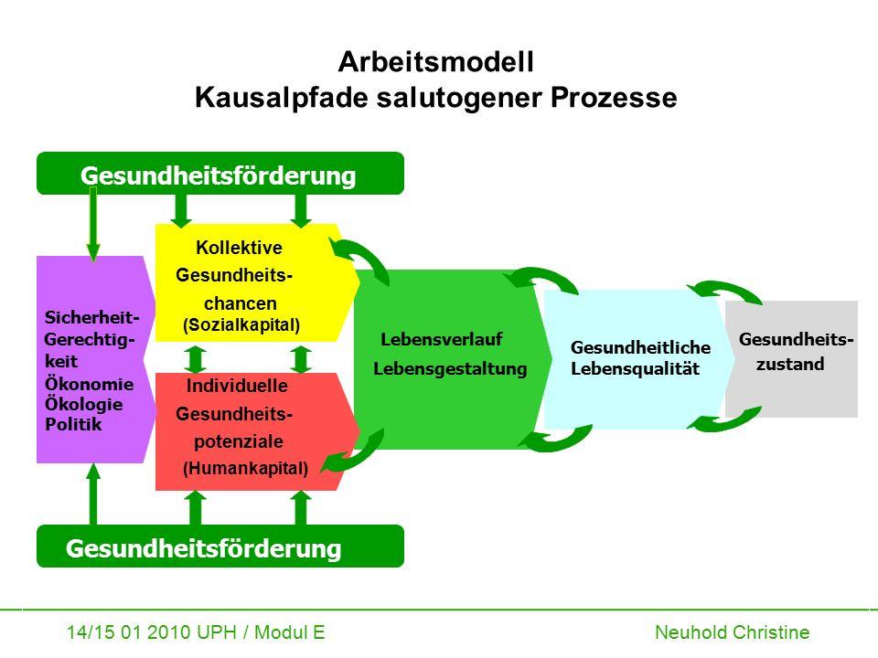 14/15 01 2010 UPH / Modul E Neuhold Christine Arbeitsmodell Kausalpfade salutogener Prozesse Gesundheits- zustand Gesundheitliche Lebensqualität Leben