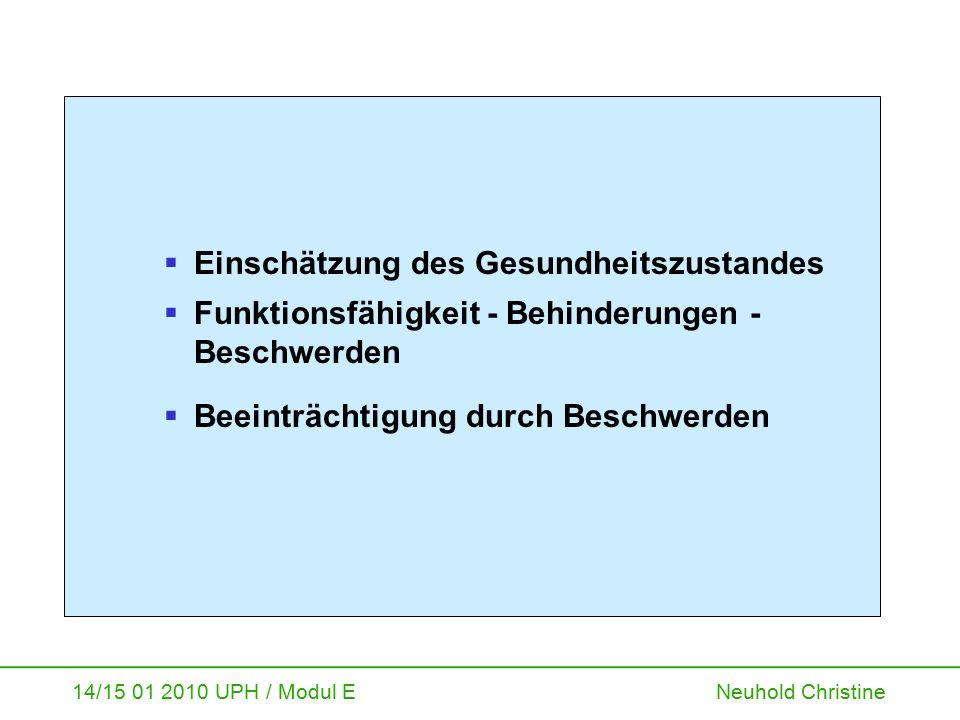 14/15 01 2010 UPH / Modul E Neuhold Christine  Einschätzung des Gesundheitszustandes  Funktionsfähigkeit - Behinderungen - Beschwerden  Beeinträcht