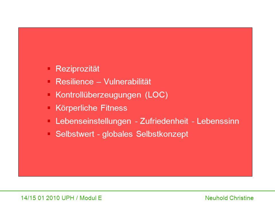 14/15 01 2010 UPH / Modul E Neuhold Christine Bausteine des Erhebungsinstrumentes Gesundheitliche Lebensqualität Individuelle Gesundheits- potenziale humanes Kapital Sozioökonomische Chancen Lebensverlauf - Lebensgestaltung - Lebensstil Soziostrukturelle/ kollektive Gesundheits- chancen Soziales Kapital Soziodemo- grafische Daten