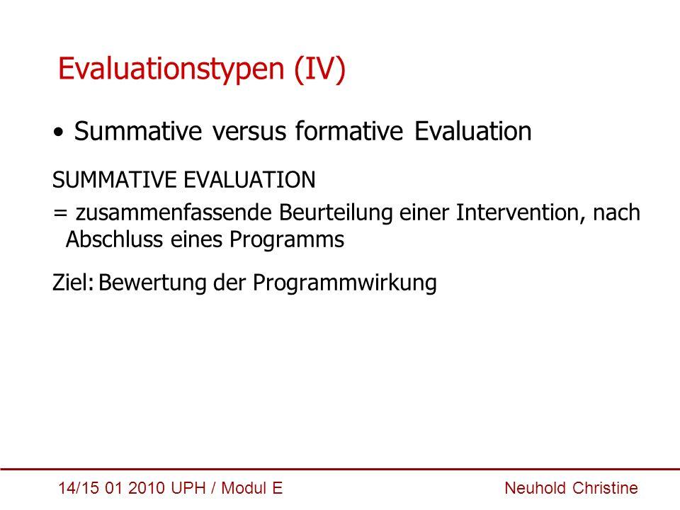 14/15 01 2010 UPH / Modul E Neuhold Christine Evaluationstypen (IV) Summative versus formative Evaluation SUMMATIVE EVALUATION = zusammenfassende Beur