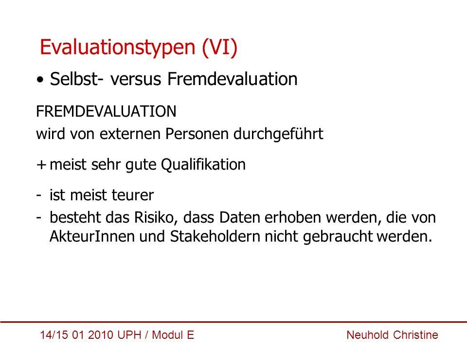 14/15 01 2010 UPH / Modul E Neuhold Christine Evaluationstypen (VI) Selbst- versus Fremdevaluation FREMDEVALUATION wird von externen Personen durchgef
