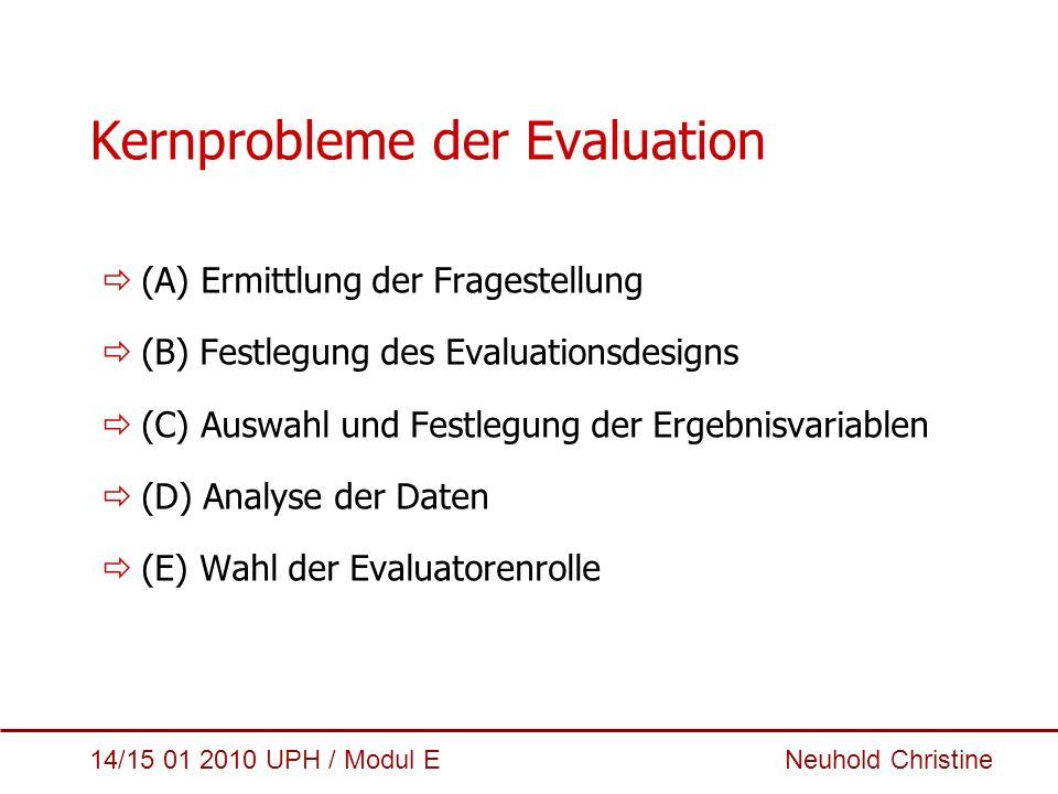 14/15 01 2010 UPH / Modul E Neuhold Christine Kernprobleme der Evaluation  (A) Ermittlung der Fragestellung  (B) Festlegung des Evaluationsdesigns 