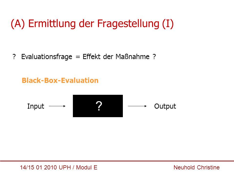 14/15 01 2010 UPH / Modul E Neuhold Christine (A) Ermittlung der Fragestellung (I) ?Evaluationsfrage = Effekt der Maßnahme ? Black-Box-Evaluation Inpu