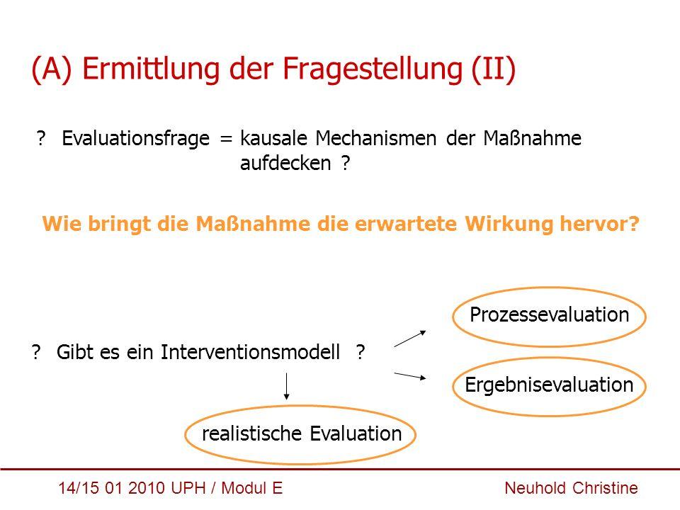 14/15 01 2010 UPH / Modul E Neuhold Christine (A) Ermittlung der Fragestellung (II) ?Evaluationsfrage = kausale Mechanismen der Maßnahme aufdecken ? W