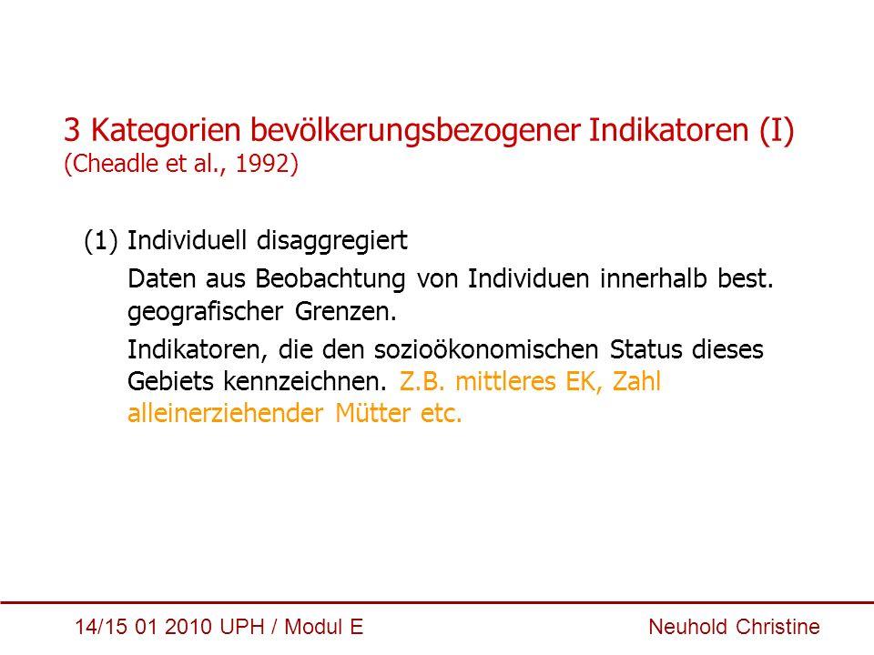 14/15 01 2010 UPH / Modul E Neuhold Christine 3 Kategorien bevölkerungsbezogener Indikatoren (I) (Cheadle et al., 1992) (1)Individuell disaggregiert D