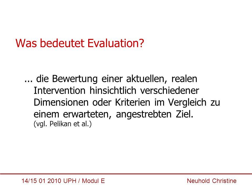 14/15 01 2010 UPH / Modul E Neuhold Christine Dimensionen/Kriterien (I) Akzeptabilität Anschlussfähigkeit für Betroffene und beteiligte Stakeholder Machbarkeit Sind Interventionen unter best.