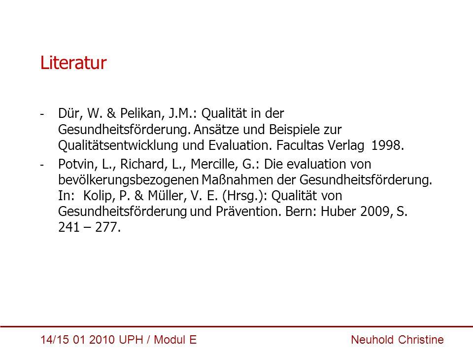 14/15 01 2010 UPH / Modul E Neuhold Christine Literatur - Dür, W. & Pelikan, J.M.: Qualität in der Gesundheitsförderung. Ansätze und Beispiele zur Qua