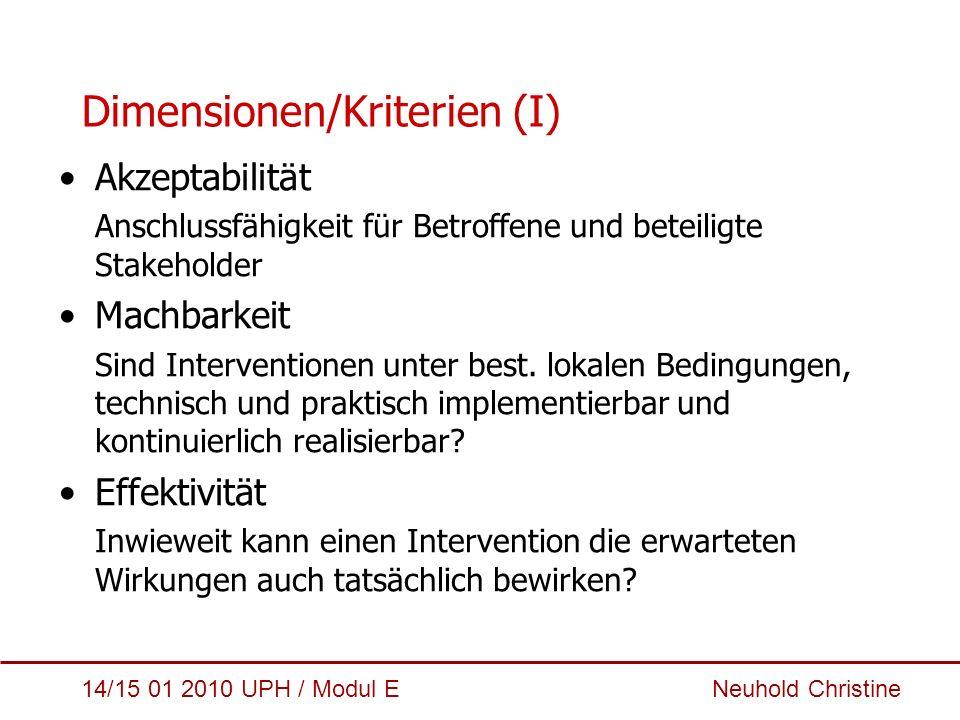 14/15 01 2010 UPH / Modul E Neuhold Christine Dimensionen/Kriterien (II) Nachhaltigkeit Bei nachhaltigen Interventionen müssen die erwünschten Effekte auch längerfristig möglich sein, unerwünschte dürfen nicht überwiegen.
