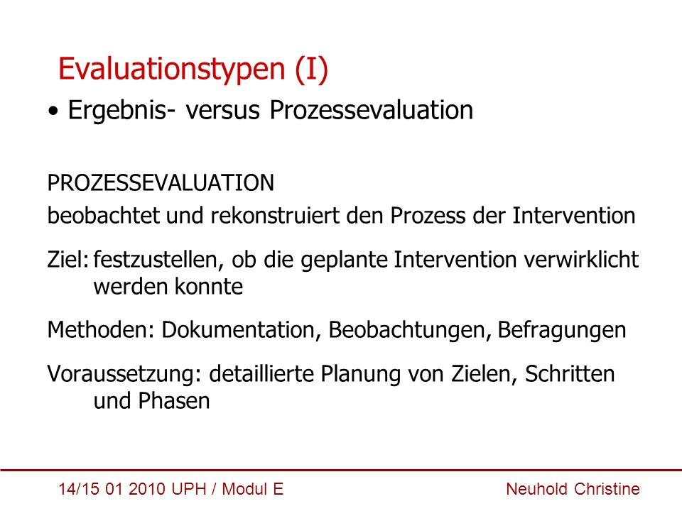 14/15 01 2010 UPH / Modul E Neuhold Christine Evaluationstypen (I) Ergebnis- versus Prozessevaluation PROZESSEVALUATION beobachtet und rekonstruiert d