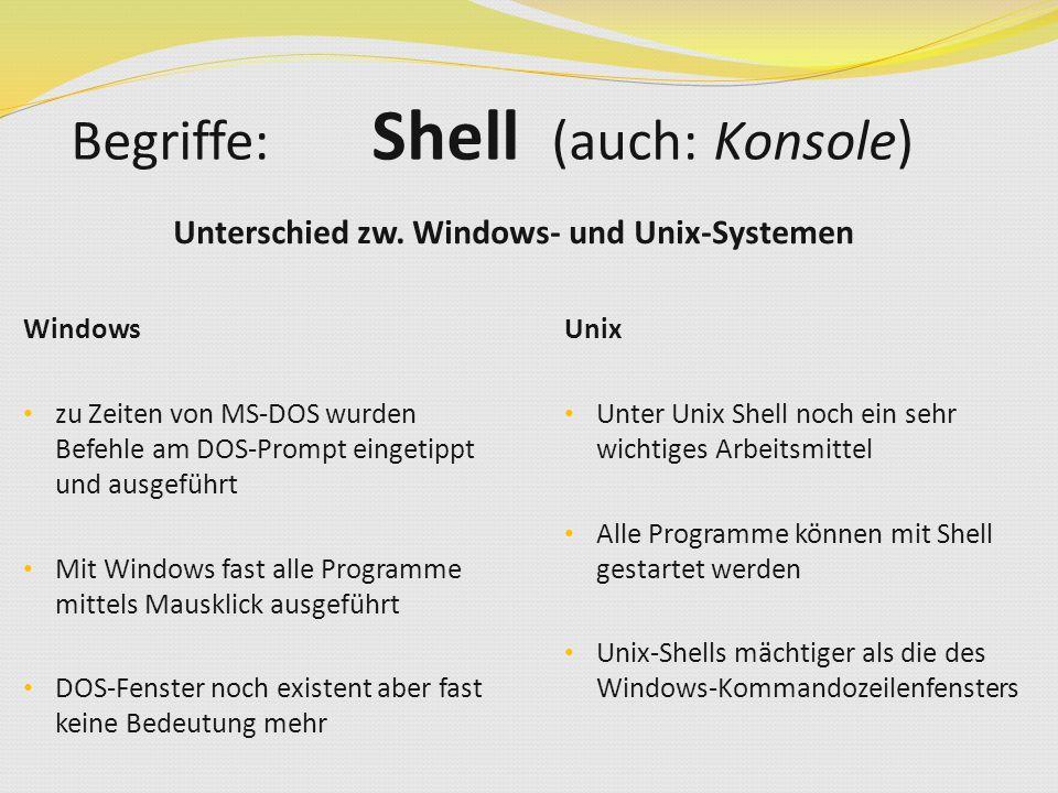 Unterschied zw. Windows- und Unix-Systemen Begriffe: Shell (auch: Konsole) Unix Unter Unix Shell noch ein sehr wichtiges Arbeitsmittel Alle Programme