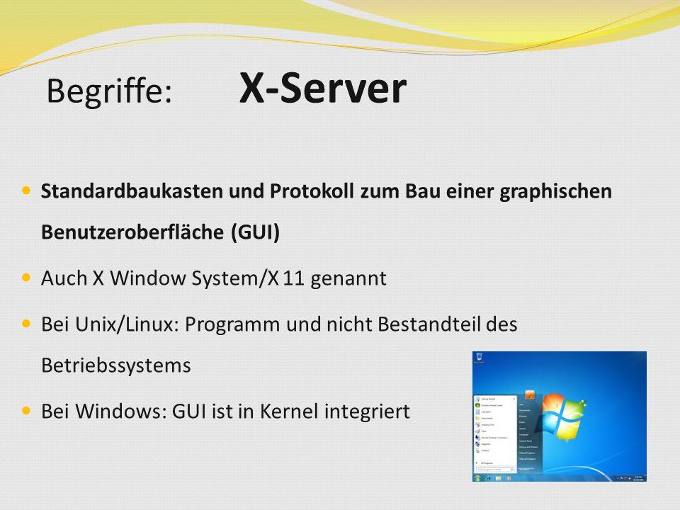Standardbaukasten und Protokoll zum Bau einer graphischen Benutzeroberfläche (GUI) Auch X Window System/X 11 genannt Bei Unix/Linux: Programm und nicht Bestandteil des Betriebssystems Bei Windows: GUI ist in Kernel integriert Begriffe: X-Server
