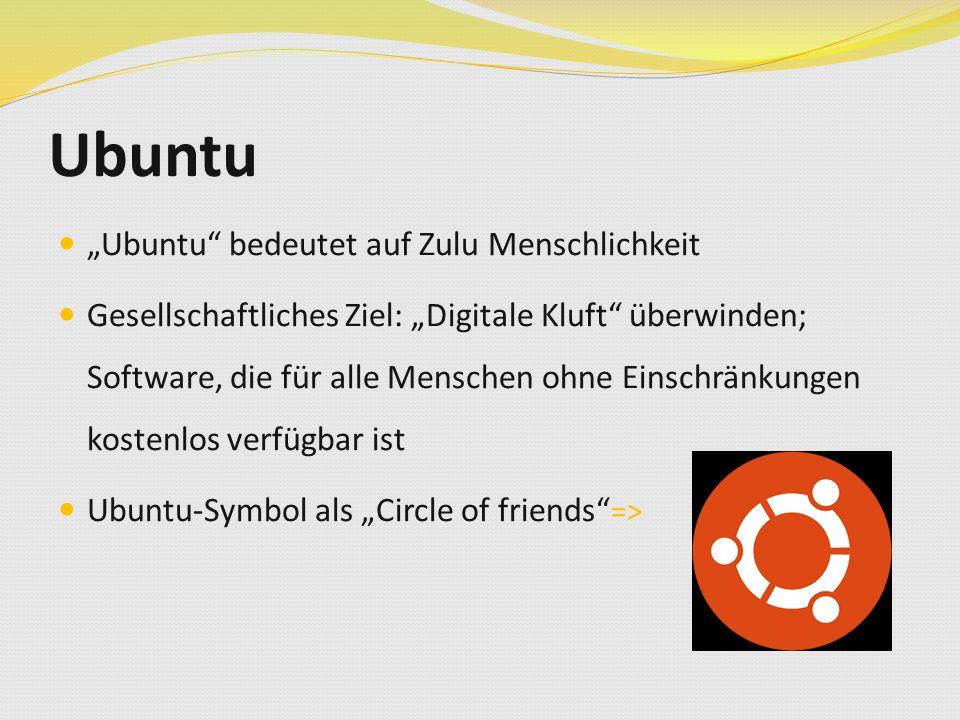 """Ubuntu """"Ubuntu bedeutet auf Zulu Menschlichkeit Gesellschaftliches Ziel: """"Digitale Kluft überwinden; Software, die für alle Menschen ohne Einschränkungen kostenlos verfügbar ist Ubuntu-Symbol als """"Circle of friends =>"""