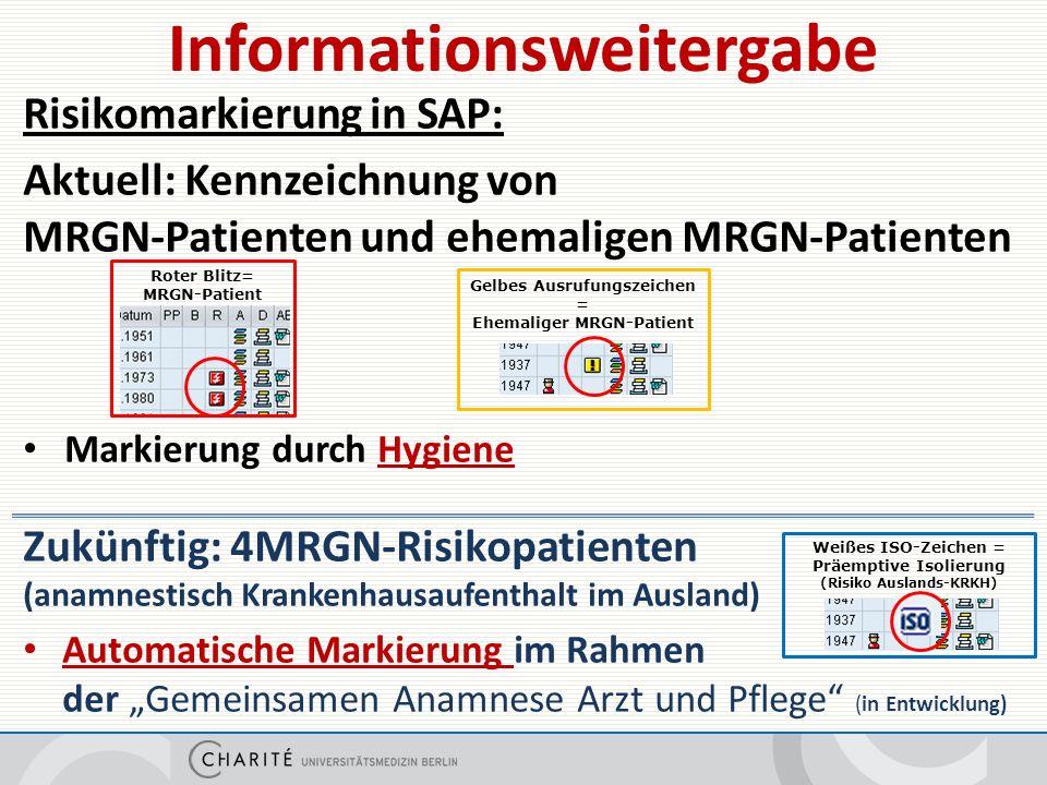 """Risikomarkierung in SAP: Aktuell: Kennzeichnung von MRGN-Patienten und ehemaligen MRGN-Patienten Markierung durch Hygiene Zukünftig: 4MRGN-Risikopatienten (anamnestisch Krankenhausaufenthalt im Ausland) Automatische Markierung im Rahmen der """"Gemeinsamen Anamnese Arzt und Pflege (in Entwicklung) Informationsweitergabe Roter Blitz= MRGN-Patient Gelbes Ausrufungszeichen = Ehemaliger MRGN-Patient Weißes ISO-Zeichen = Präemptive Isolierung (Risiko Auslands-KRKH)"""