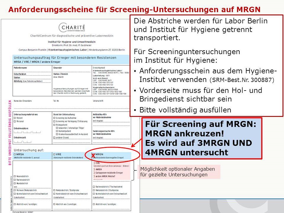 Die Abstriche werden für Labor Berlin und Institut für Hygiene getrennt transportiert.