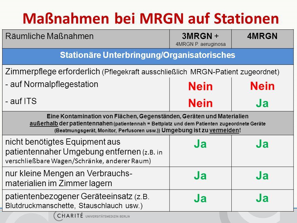 Maßnahmen bei MRGN auf Stationen Räumliche Maßnahmen3MRGN + 4MRGN P.